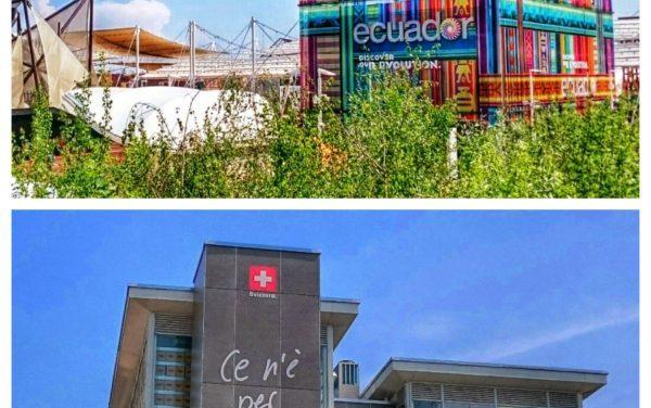 Les pavillons suisse et équatorien à l'Expo 2015 à Milan